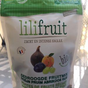 Lilifruit mix van gedroogde biologische pruimen, vijgen, abrikozen en rozijnen