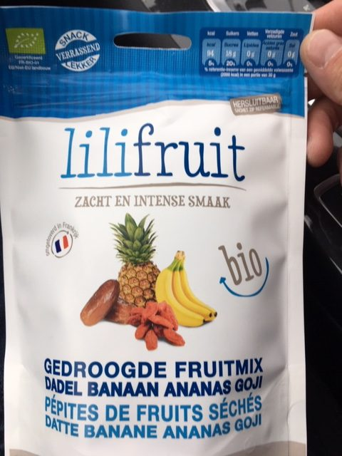 Lilifruit mix van gedroogde biologische ananas, dadel, goji en banaan
